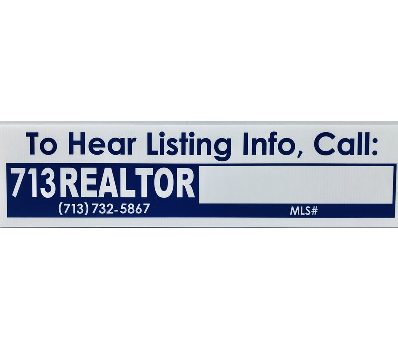 "Sign Rider - 713-REALTOR - Property Hotline - 6"" x 24"""
