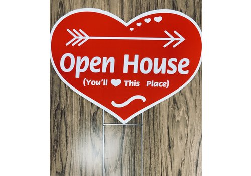 Sign - Heart Shape w/Stake - Open House