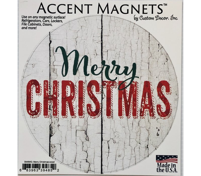 Magnet - Accent Round - Merry Christmas