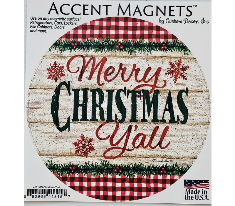Magnet - Accent Round - Christmas Yall