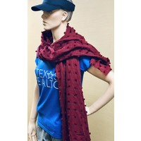 Scarf - Garnet - Knotted Squares