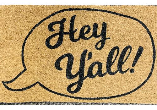 """Doormat - Hey Y'all - 30"""" x 18"""""""