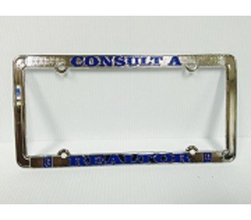 Realtor R License Plate Frame - Chrome