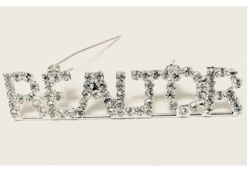 Realtor Pin - Crystal - Silver- Lg