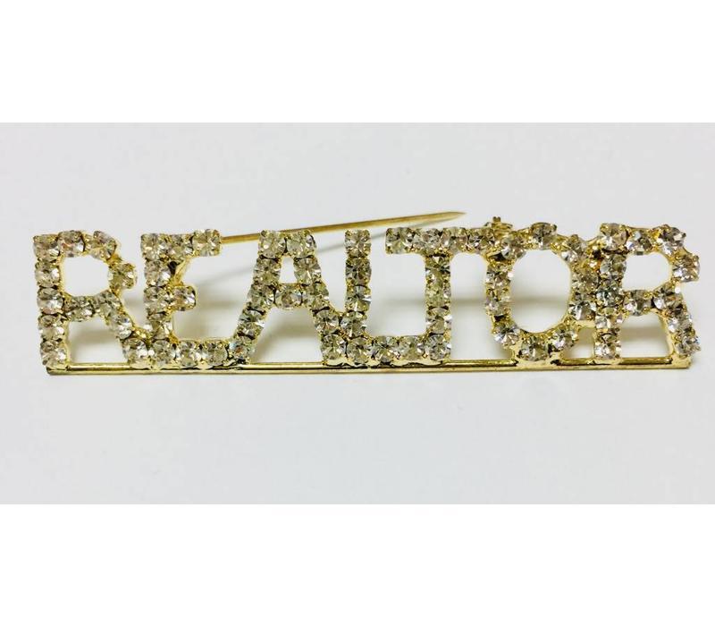 Realtor Pin - Crystal - Gold -  Lg