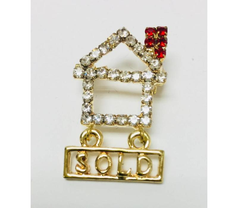 Pin - House - Crystal w/Red Chimney & Sold Sign - Sm