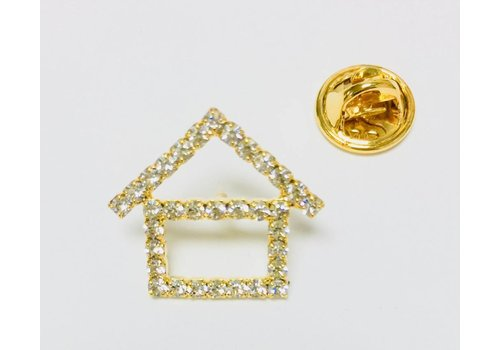 Pin -  House - Crystal - Gold - Sm