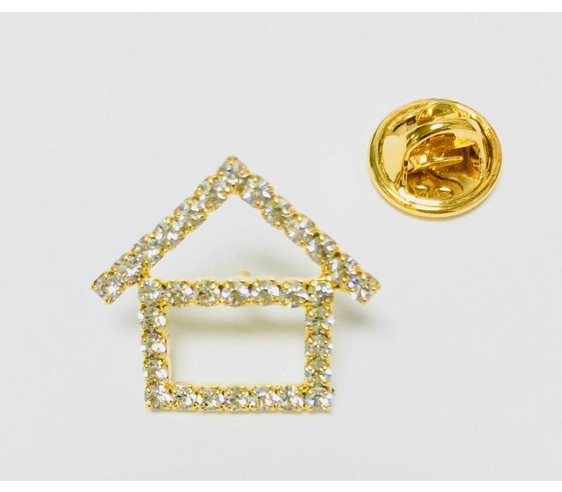 Pin -  House - Crystal - Gold - Small