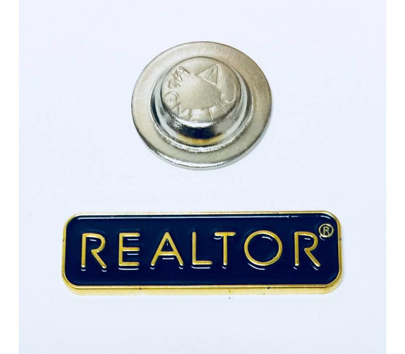 Realtor Pin - Rectangle - Gold/Blue