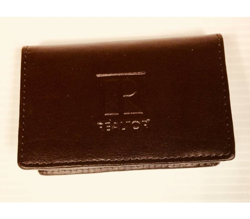 Realtor R Business Card Holder - Leather - Brown
