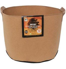 Gro Pro Essential Round Fabric Pot w/ Handles 10 Gallon - Tan (60/Cs)
