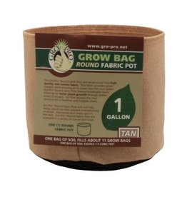 Gro Pro Premium 1 Gallon Round Fabric Pot-Tan (120/Cs)