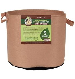 Gro Pro Premium Round Fabric Pot w/ Handles 5 Gallon - Tan (110/Cs)