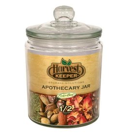 Harvest Keeper Glass Storage Apothecary Jar w/ Sealed Lid - 1/2 Gallon (6/Cs)