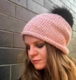Woolly&Co. Slouch hat with black Pom - Rose