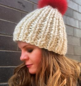 Woolly&Co. Ski hat with red pom - cream
