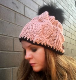 Woolly&Co. Cable hat pink with black trim and pom