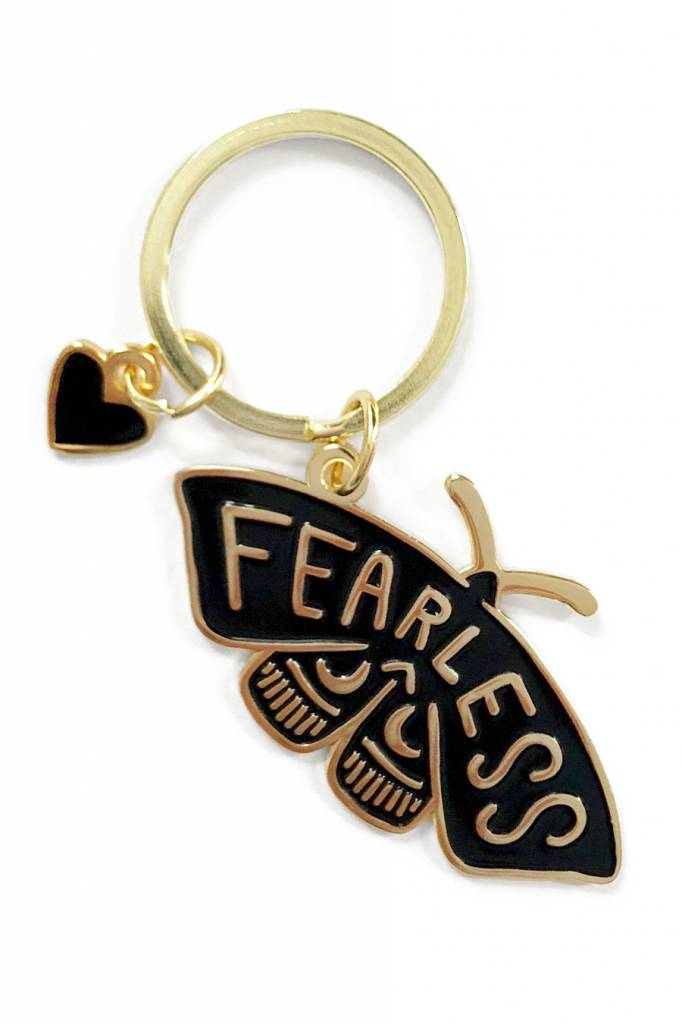 shelli Can Fearless Moth Keychain (Black)