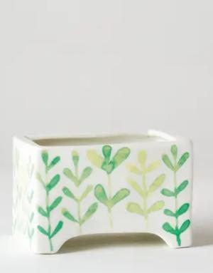 """Planter - 4"""" x 3"""" x 2.75"""" - Succulent Pot - Green Vine"""