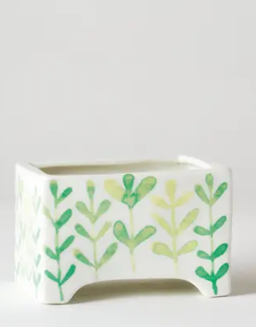 "Planter - 4"" x 3"" x 2.75"" - Succulent Pot - Green Vine"