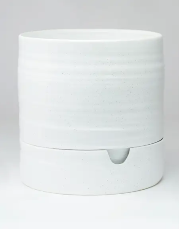 "Planter - Self Watering - 9"" x 9"" - White Speckle"