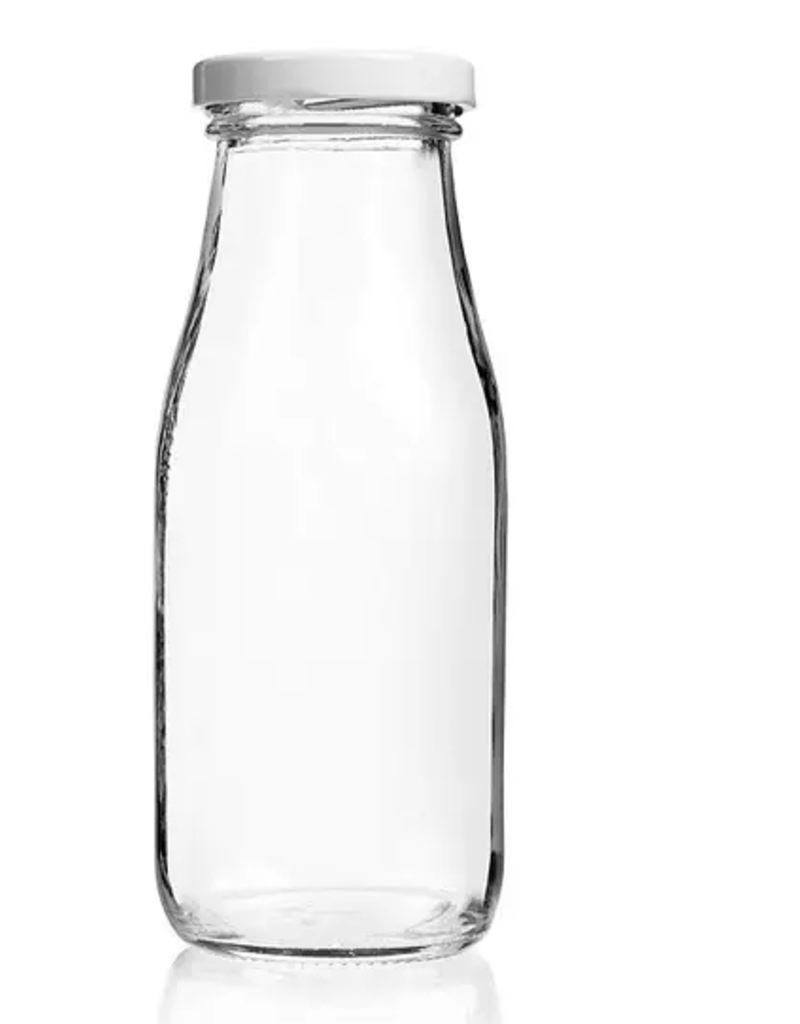Single - Glass Milk Bottle With Lids - 12 oz.