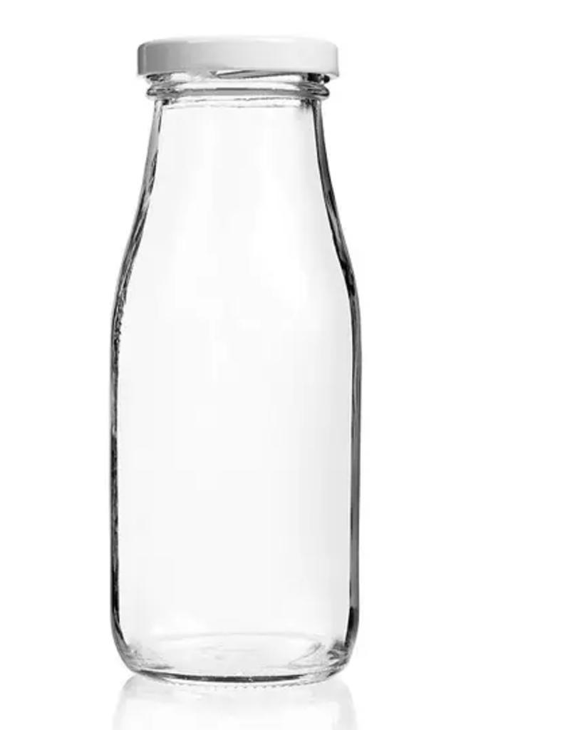 Single - Glass Milk Bottle With Lids - 12 oz.