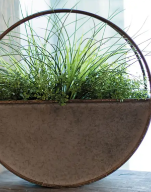 Flower Pot - Large Round Metal