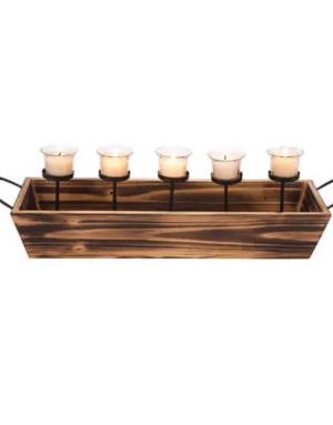 Candle Holder - 5 Votive Wood & Metal
