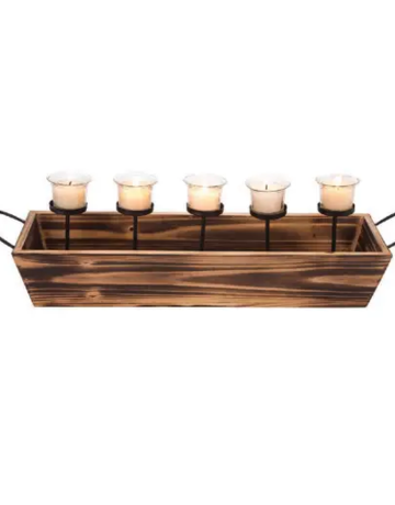 Candle Holder - 5 Votive Wood & Metal