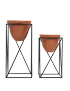 Planter Set - Black Geo with Terracotta Pots