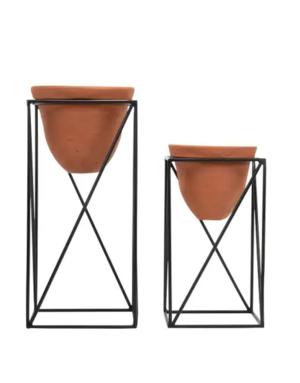 Planter Set - Black Geo with Terracotta Pots
