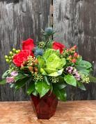 Platinum Bud Vase with Three Roses