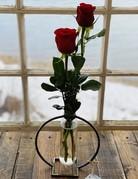 Keystone Vase with Two Roses