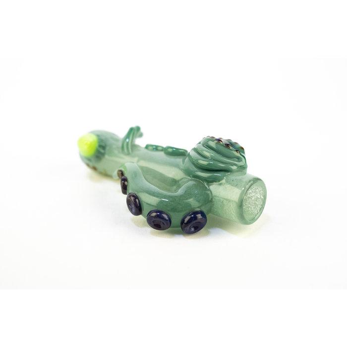 Mako Chillum Green Frit w/ Slyme Horn