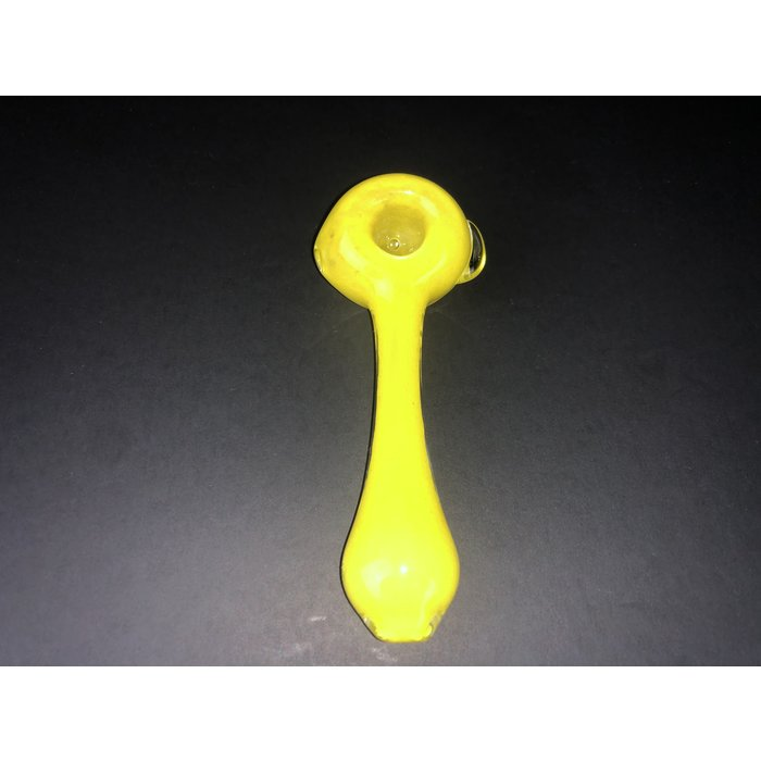 Matt White Glass Yellow Spoon