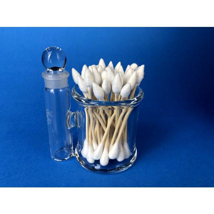 Home Blown Glass Q-Tip Alcohol Jar