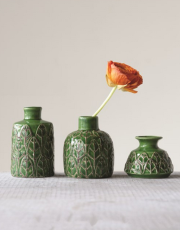 Creative Co-op Green Leaf Vase