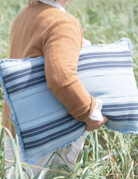 Creative Co-op Sandwashed Blue Fringed Woven Pillow