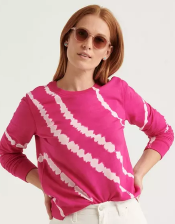 Lucky Brand Clothing Lucky Brand Tie Dye Pink Pullover