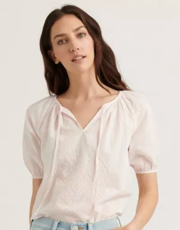 Lucky Brand Clothing Embroidered S/S Peasant Top