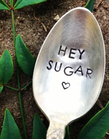 Sweet Thyme Design Engraved Antique Silver Spoon