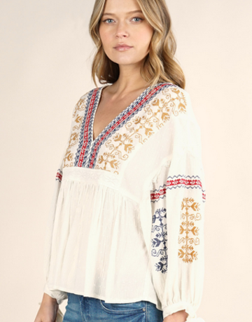 Lovestitch Embroidered Boho Top