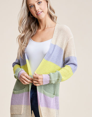 Staccato Pastel Stripe Cardigan Duster