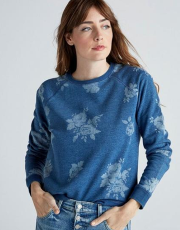 Lucky Brand Clothing Indigo Floral Sweatshirt