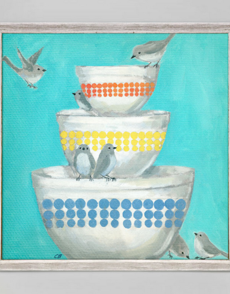 Greenbox Art Birds on a Stack of BowlsMini Framed Art 6x6