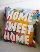 """Kalalou Kalalou """"Home Sweet Home"""" Patch Pillow"""