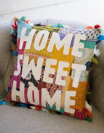 "Kalalou Kantha ""Home Sweet Home"" Pillow"