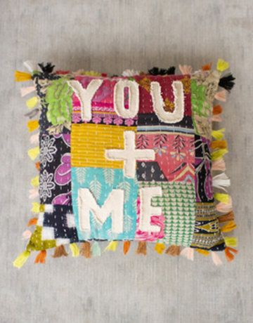 "Kalalou Kantha ""You + Me"" Pillow"