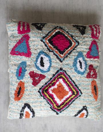 Kalalou Shag Pillow with Turquoise & Reds